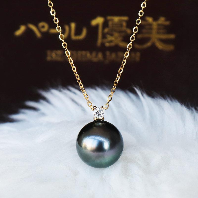 K18 黒蝶真珠 一粒 DIA ネックレスダイア Tahitian pearl necklace D0.04ct 1pcs