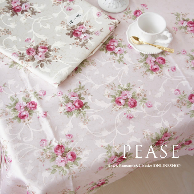 Elegant Rose Tablecloth 135 X 180 Cm Pink / Cream Repellent Water  Processing Flower Cute Kitchen