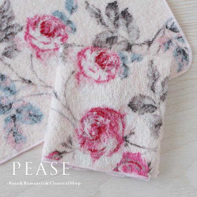 薔薇柄のタオルハンカチ ハンカチ 綿 全品最安値に挑戦 おしゃれ かわいい 薔薇 花柄 プチギフト プレゼント テイラーローズ タオルハンカチ ピンク 綿100% 日本製 薔薇雑貨 ギフト 女性 ついに入荷