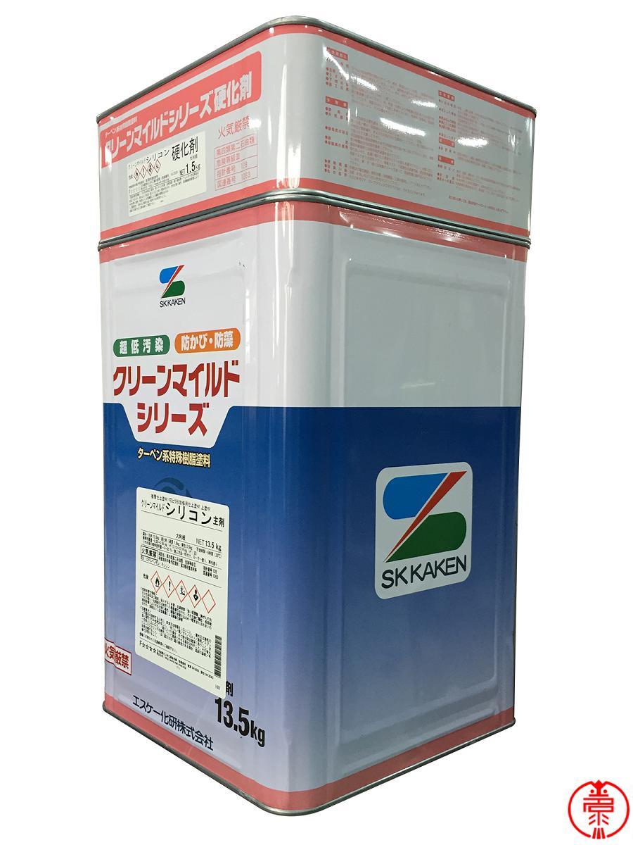 クリーンマイルドシリコン つや有り 白·SR標準色(淡彩)·日本塗料工業会塗料用標準色(淡彩) 15kgセット エスケー化研 2液アクリルシリコン樹脂塗料