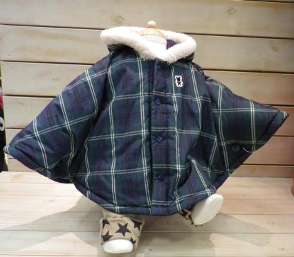 MIKIHOUSE FIRST/ミキハウスファーストBlack Bear Baby/BBB★ブラックウォッチ★リバーシブルマント
