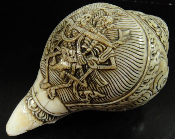 ◆チベット密教法具 法螺貝(シャンカ)チティパティ