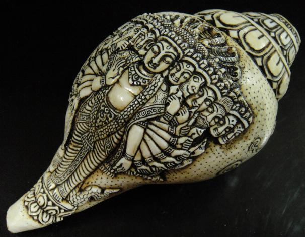 ◆チベット密教法具 法螺貝(シャンカ)ヴィシュヌ