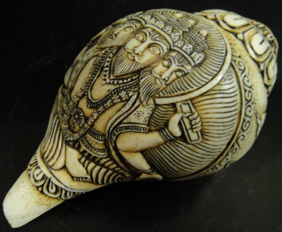 ◆チベット密教法具 法螺貝(シャンカ)ブラフマー(梵天)