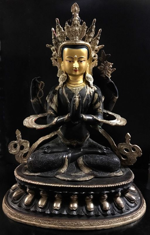 ◆六字咒観音菩薩像 ◆仏教 チベット/アンティーク風/高さ46cm