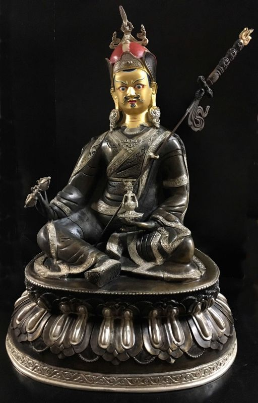◆パドマサンババ(グル・リンポチェ)像◆ チベット/アンティーク風/高さ46.5cm