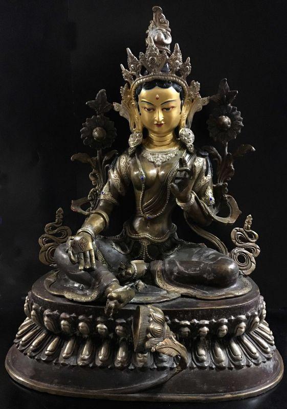◆グリーンターラー(緑多羅菩薩)像◆ チベット/アンティーク風/高さ45.5cm
