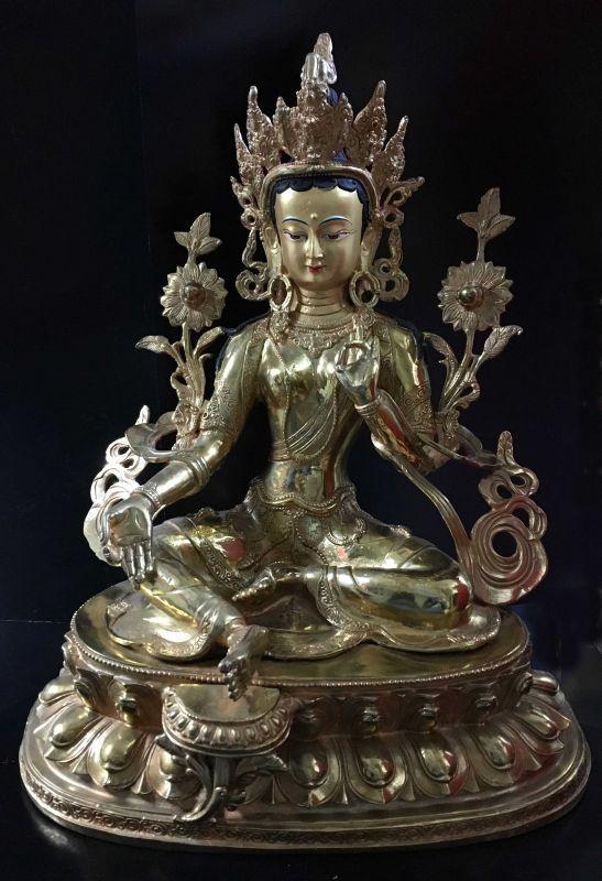 ◆グリーンターラー(緑多羅菩薩)像◆仏教 チベット-LL