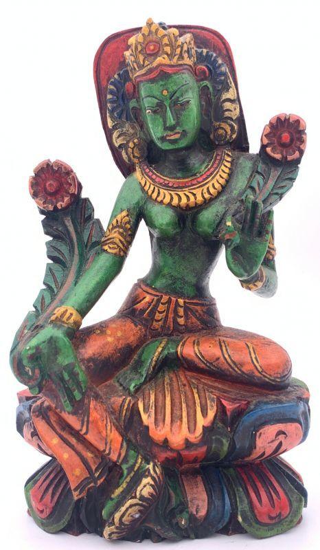 細かな彫り細工が見事な仏像です 木製手彫りグリーンターラー 緑多羅菩薩 像 2020A W新作送料無料 チベット仏教-2A 70%OFFアウトレット