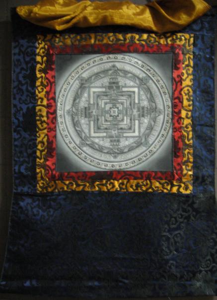 ◆カーラチャクラ・マンダラ(時輪曼荼羅)タンカ/仏画/チベット-1