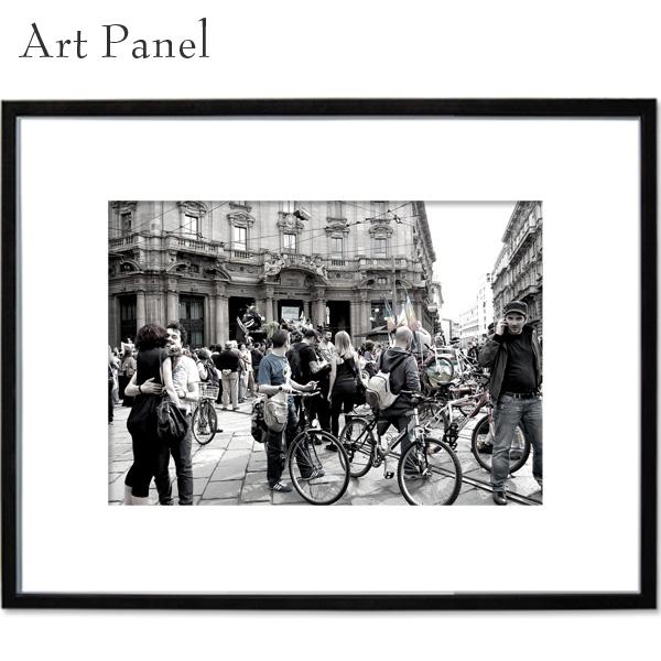 アートパネル 海外 街並み ミラノ 壁掛け パネル a2 写真 飾り 黒フレーム 絵画 ポスター 大きい 壁面 装飾