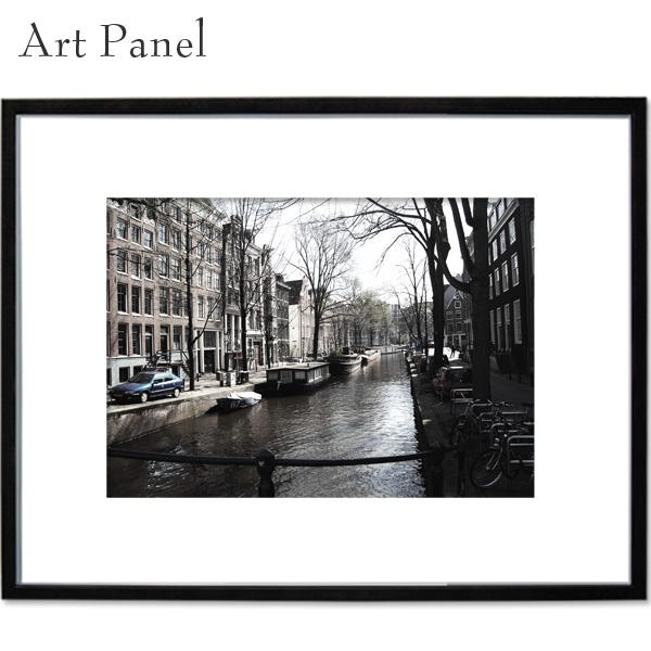 アートパネル アムステルダム 街並み 壁掛け パネル a2 写真 飾り 絵画 ポスター 大きい 壁 モノトーン インテリア 装飾