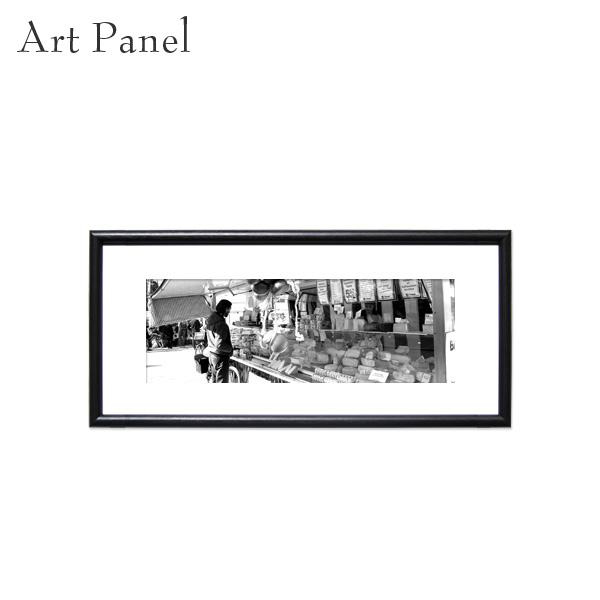 横長アート 壁掛け パネル 街並み モノクロ アートボード 白黒 インテリア モノトーン おしゃれ 絵画 ポスター 額付