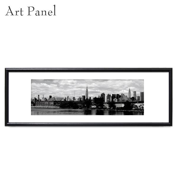 ニューヨーク アート 横長 パネル モノクロ 壁掛け 壁飾り おしゃれ インテリア グラフィック ポスター 絵画