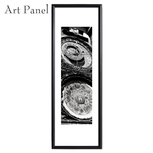 縦長 額付 プラハ 時計 写真 おしゃれ アートパネル モノクロ 壁 インテリア モダン グラフィック ポスター 絵画