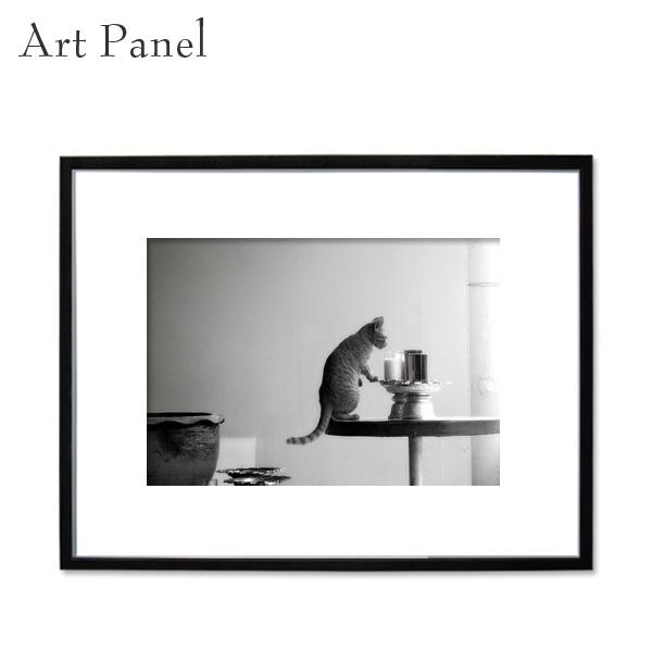 アートパネル モノトーン ネコ 動物 壁掛け インテリア 写真 ディスプレイ 飾り物 フォトパネル アートボード