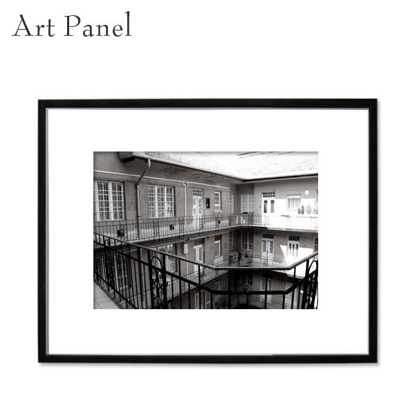 壁掛け アート ウォールパネル 海外 インテリア モダン 街 フレーム付き 白黒写真 壁面 アートボード