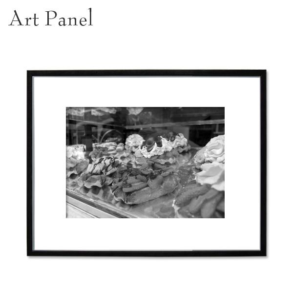 アートパネル モノトーン ワッフル カフェ 白黒 雑貨 インテリア モダン フレーム付き 写真 壁面 アートボード
