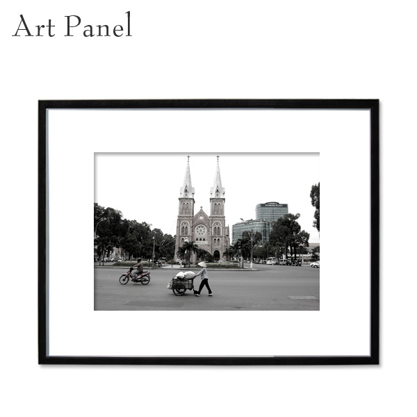 アートパネル モノクロ 街並み 壁掛け 装飾 白黒 雑貨 インテリア モダン フレーム付き 写真 壁面 アートボード