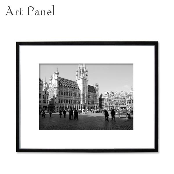 アートパネル 街並み ベルギー モノクロ 大きめ 装飾 白黒 風景 インテリア モダン フレーム付き 写真 壁掛け アート