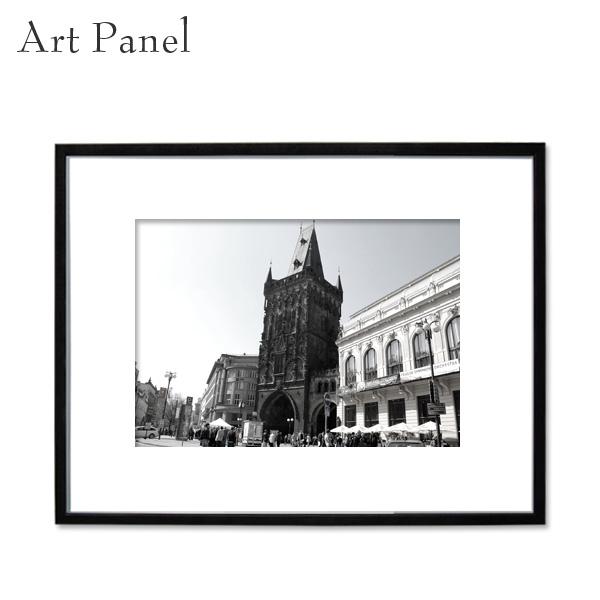 アートパネル モノクロ 街並み チェコ 大きめ 装飾 白黒 風景 インテリア モダン フレーム付き 写真 壁掛け アート