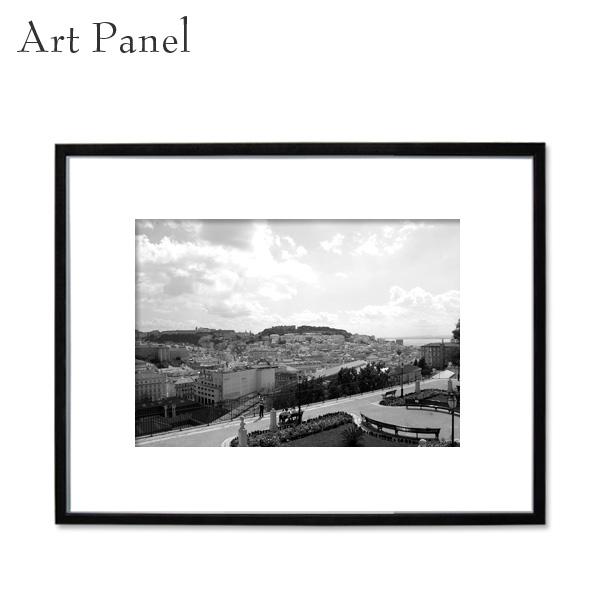 アートパネル 街並み ポルトガル 飾る 装飾 白黒 風景 インテリア モダン フレーム付き 写真 壁掛け アート