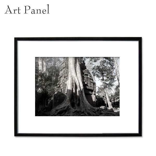 アートパネル モノクロ アンコール遺跡 装飾 白黒 風景 インテリア モダン フレーム付き 写真 壁掛け アート