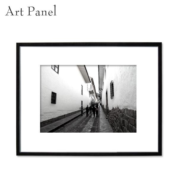 アートパネル モノクロ クスコ 海外風景 白黒 インテリア モダン 壁 フレーム付き 写真 壁掛け アートボード