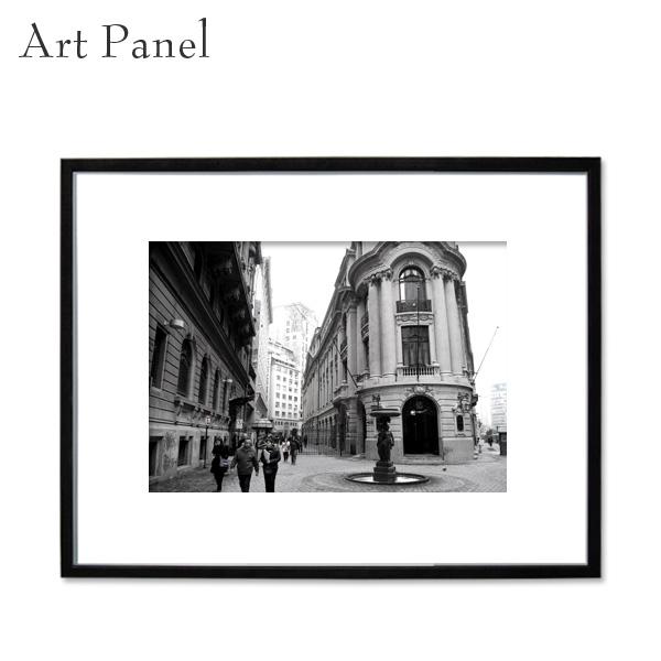 アートパネル モノクロ チリ 写真 街並み 白黒 インテリア モダン 壁 フレーム付き 壁掛け アートボード