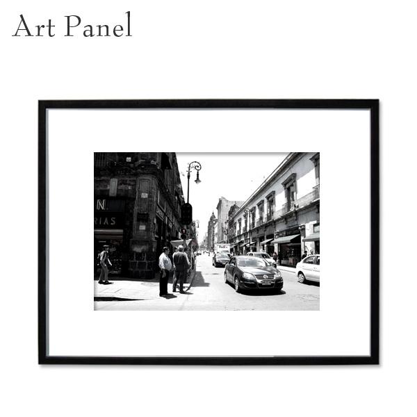 アートパネル モノクロ メキシコ 写真 街並み 白黒 インテリア モダン 壁 フレーム付き 壁掛け アートボード