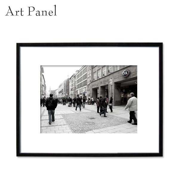 アートパネル 街並み モノクロ パネル写真 ドイツ 白黒 インテリア モダン 壁面 フレーム付き 壁掛け アートボード