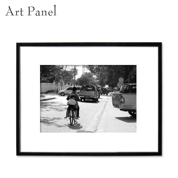 アートパネル モノクロ ラオス 街並み アート 写真 白黒 インテリア モダン 壁面 壁掛け アートボード