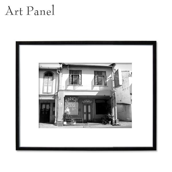 アートパネル モノクロ マレーシア 街並み アート 写真 白黒 インテリア モダン 壁面 壁掛け アートボード