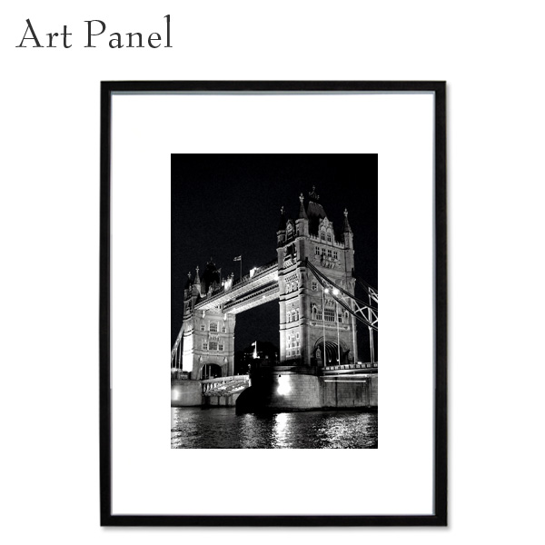 壁掛け アート インテリア モノクロ アートパネル ロンドン タワーブリッジ 写真 ポスター 白黒 モダン 額付 アートボード