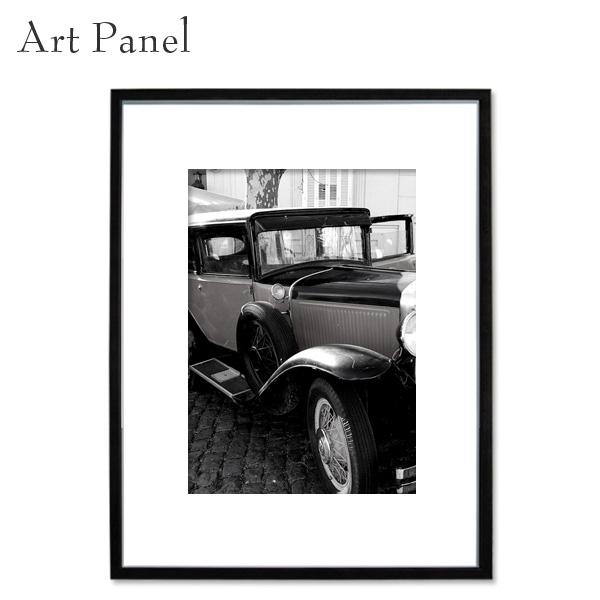 壁掛け アートパネル モノクロ インテリア クラシックカー 写真 ポスター 白黒 モダン 額付 アートボード