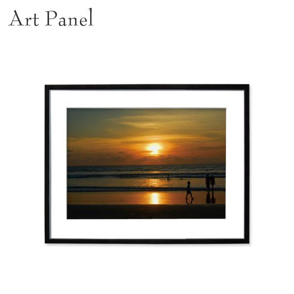 アートパネル 海 夕日 バリ島 壁掛け インテリア 黒フレーム アルミ アクリル 風景 壁面 装飾 写真 飾り