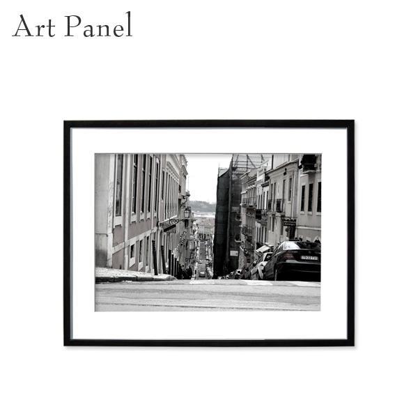 アートパネル モノクロ インテリア 壁掛け アート おしゃれ ウォールアート 海外 街並み 白黒 額付き 写真入り