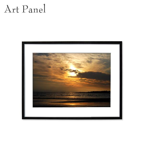 アートパネル 海 夕日 壁掛け インテリア 海外風景 デザイン 写真 壁飾り アルミ 額縁 額付き