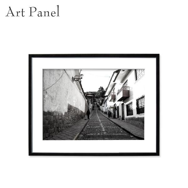 アートパネル 街並み モノクロ クスコ 壁掛け アート フレーム付き 風景 インテリア 白黒 写真 おしゃれ 装飾 飾り