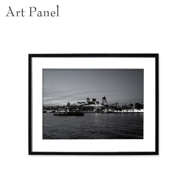 アートパネル モノクロ ロンドン 夜景 街並み 風景 壁掛け アート フレーム付き インテリア 白黒 写真 おしゃれ 壁飾り