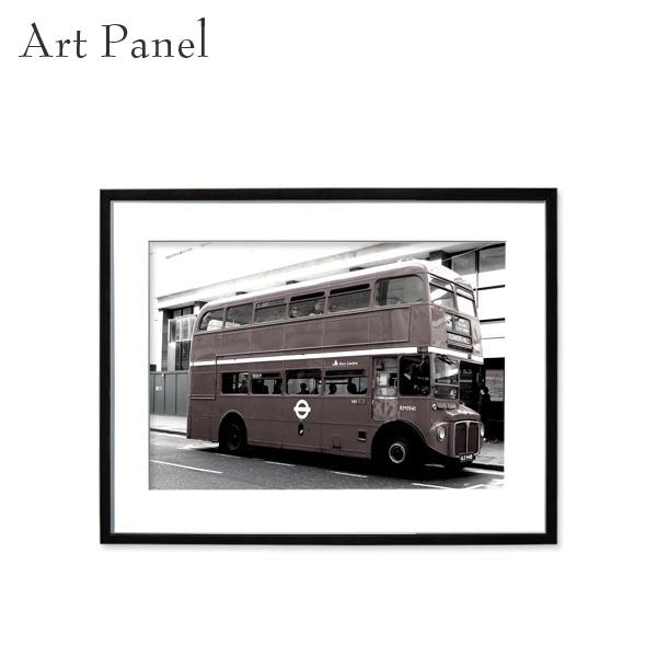 壁掛け アート モノトーン アートパネル ロンドン バス 街並み 風景 モダン インテリア 額付き 写真 壁飾り