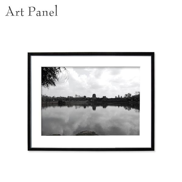 アートパネル モノトーン アンコールワット 壁掛け 海外風景 モダン インテリア ウォールアート 額付き モノクロ写真