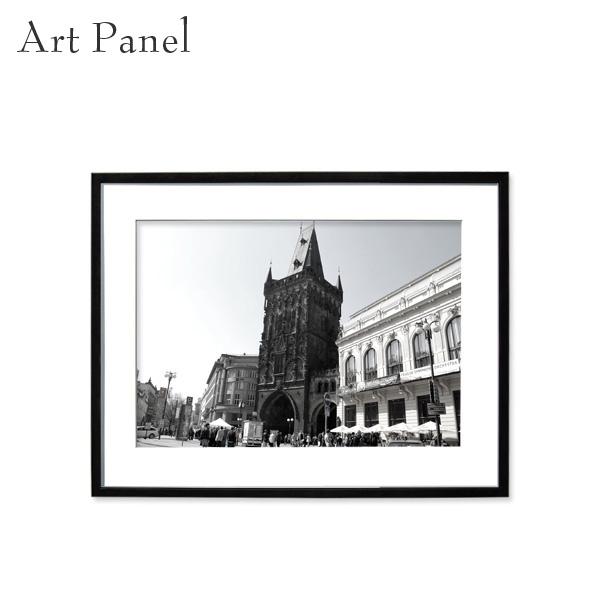 壁掛け アート モノトーン プラハ 街並み 海外 モダン インテリア ウォールパネル 額付き モノクロ写真
