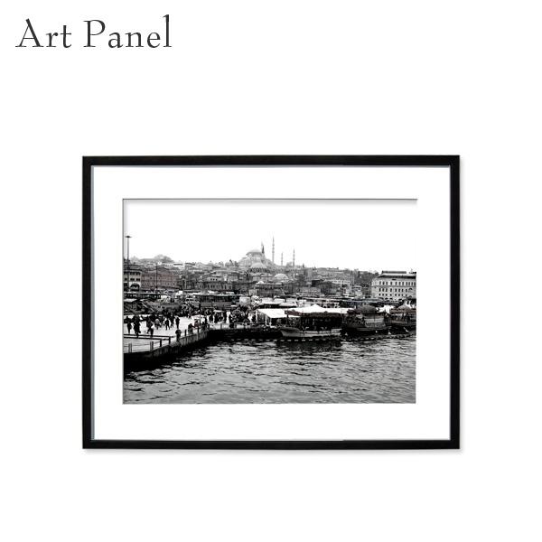 壁掛けインテリア アートパネル モノトーン イスタンブール 街並み 海外 モダン ウォールパネル 額付き モノクロ写真