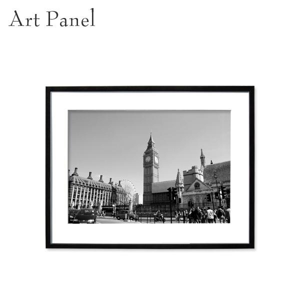 壁掛けインテリア アートパネル モノトーン ロンドン 街並み モダン ウォールパネル 額付き モノクロ写真