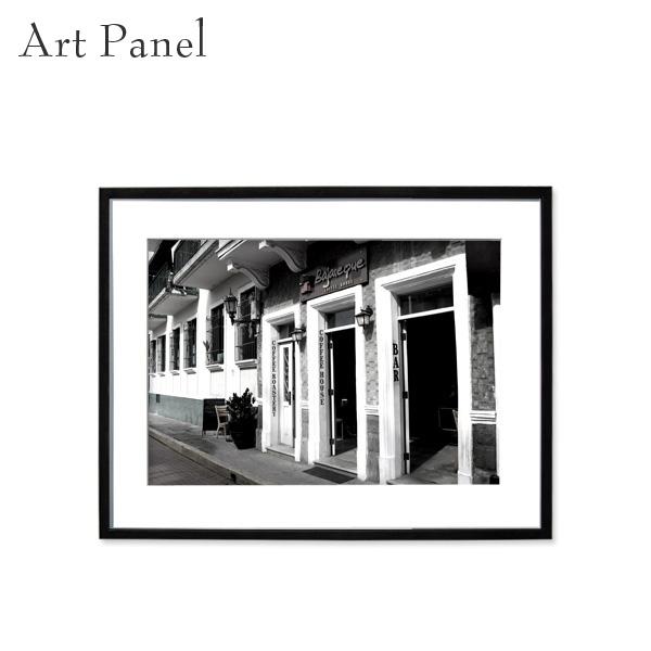 壁掛けインテリア アートパネル モノトーン パナマ 街並み モダン ウォールパネル 額付き モノクロ写真