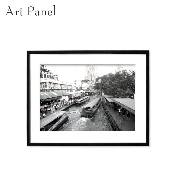 壁掛け インテリア アートパネル モノトーン バンコク 街並み モダン ウォールパネル 額付き モノクロ写真