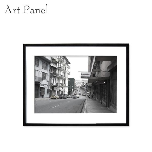 アートパネル モノトーン パナマ 街並み 壁掛け 白黒 インテリア モダン アートボード 額付き アート写真