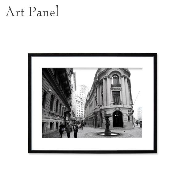 アートパネル モノトーン サンティアゴ 街並み 壁掛け 白黒 インテリア モダン アートボード 額付き パネル写真