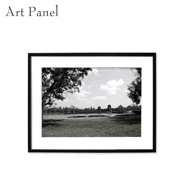 アートパネル モノトーン アンコール遺跡 街並み 壁掛け 白黒 インテリア モダン アートボード 額付き パネル写真
